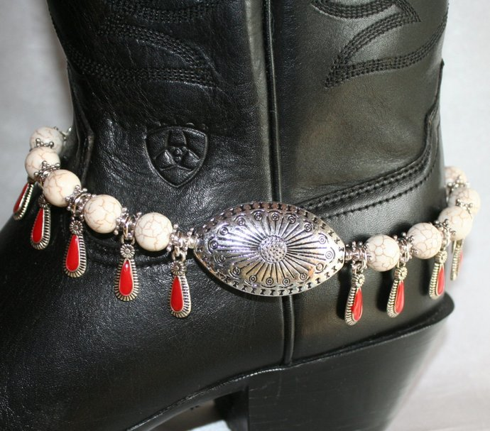 Cowgirl Western White Turquoise Boot Bracelet, Big Southwestern Antique Silver