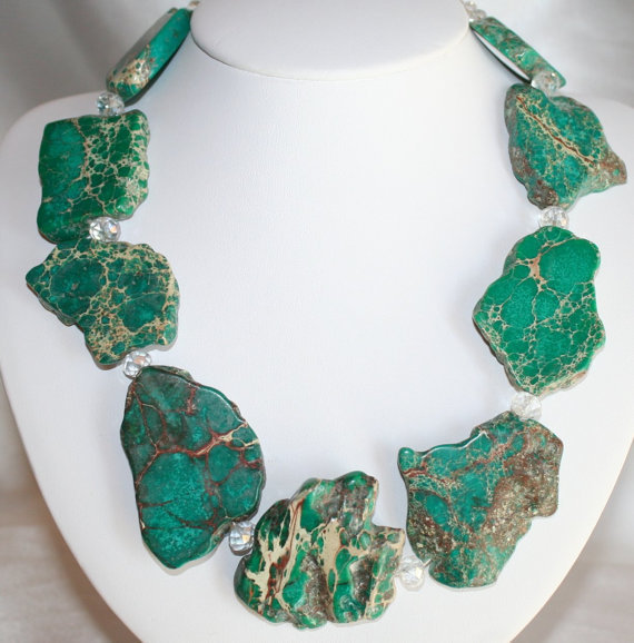 Chunky Impression Jasper Slab Bead Statement Necklace, Bold Green Imperial
