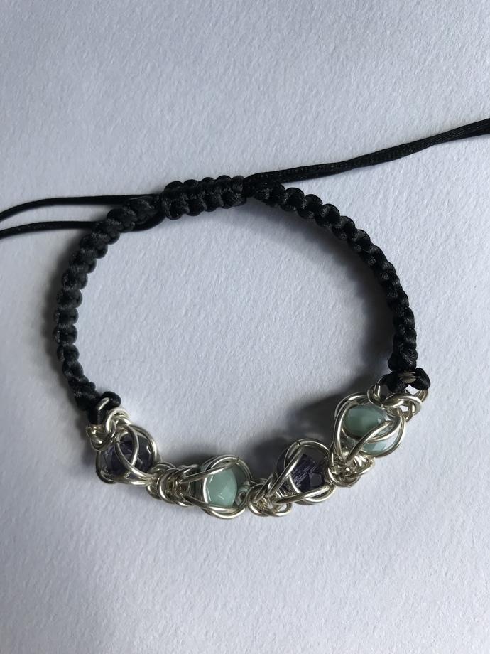 Sterling silver, crystal, chainmaille adjustable bracelet