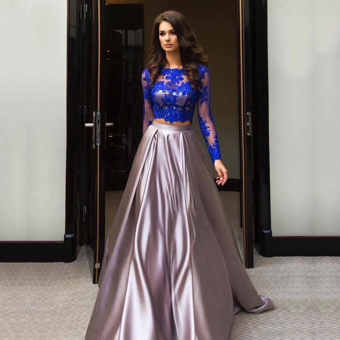 Modest Two Piece Prom Dresses, Scalloped Neck Tulle Ball Gown Evening Gowns,