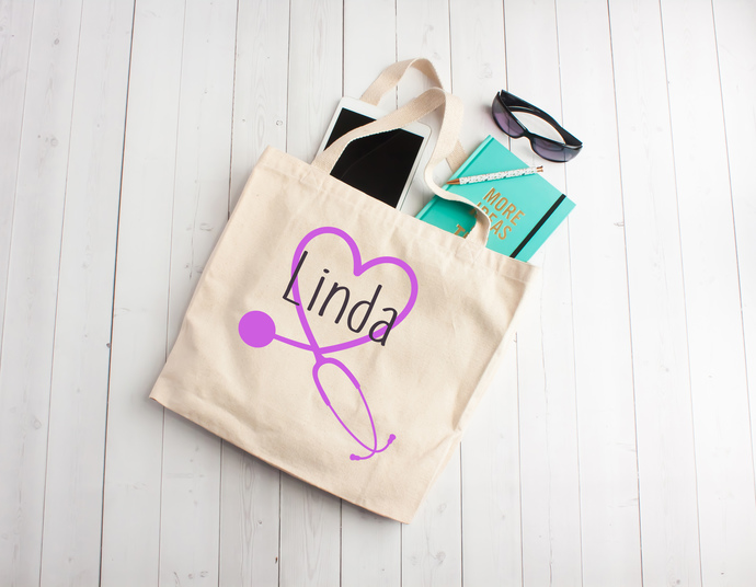 Stethoscope, stethoscope monogram, Cotton Tote Bag, gifts for nurses, nurse