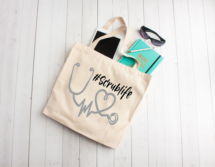 Stethoscope, nurse life, Cotton Tote Bag, gifts for nurses, nurse appreciation