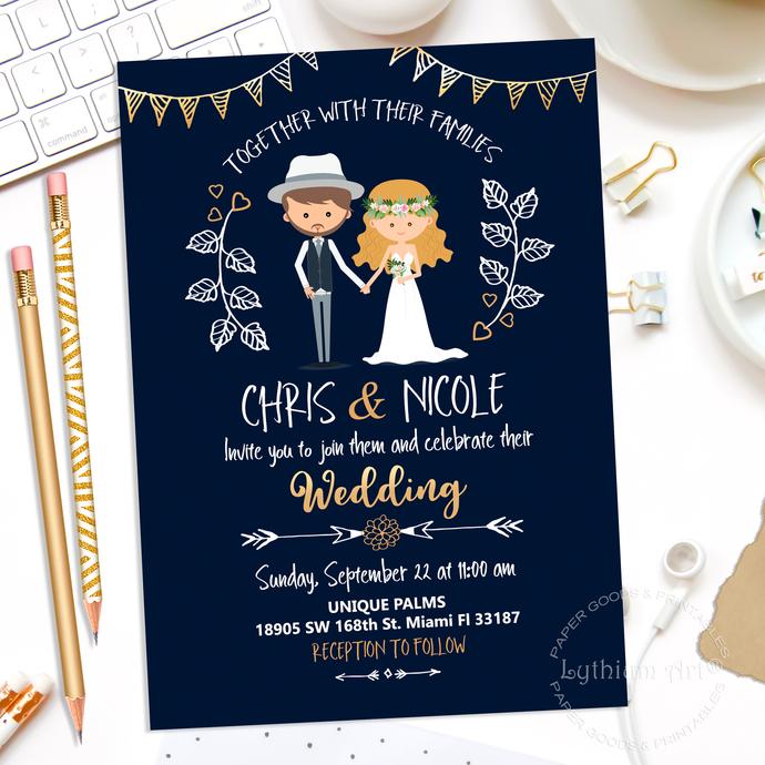 modern wedding invitation wedding invitation cartoon wedding invite navy