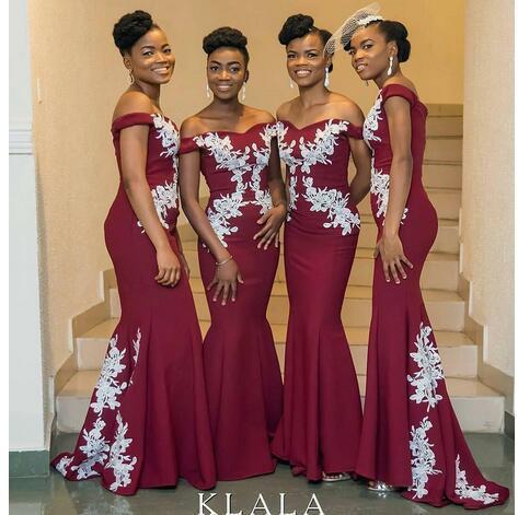 2c817415d5 African Burgundy Mermaid Bridesmaid Dresses Off Shoulder White Appliques  Satin
