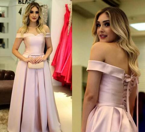 Custom Off the Shoulder Lace Prom Dresses with Applique Beaded Satin Sweep Train