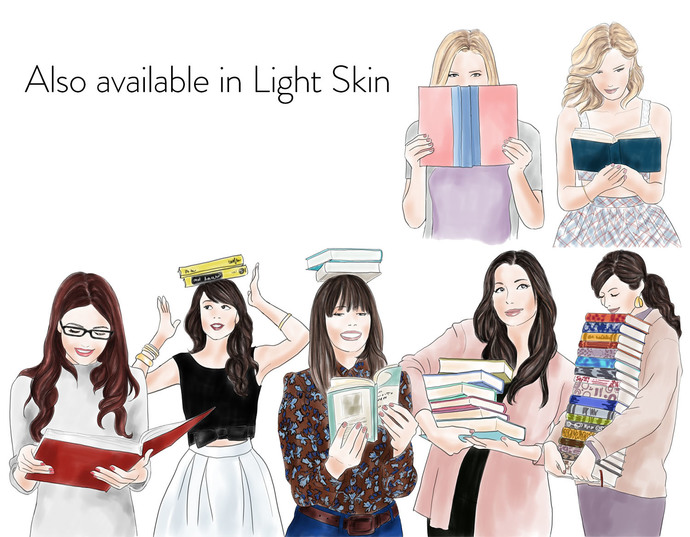 Watercolour fashion illustration clipart - Girls with books 2 - Dark Skin