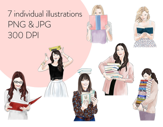 Watercolour fashion illustration clipart - Girls with books 2 - Light Skin