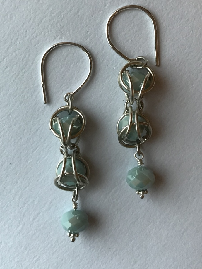 Sterling silver earrings with crystal captured chainmaille design