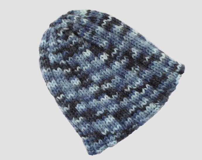 Baby or Toddler's Blue Ribbed Beanie Ready to Ship
