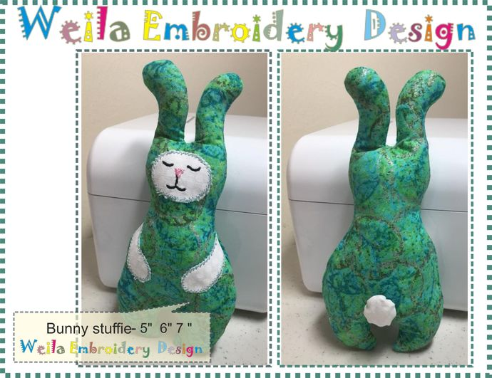 Bunny Stuffie Soft toy Machine Embroidery Design ITH In the hoop