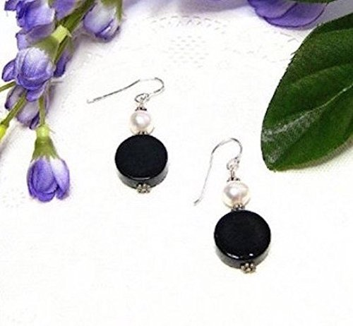 FW Pearl and Black Agate Sterling Silver Earrings