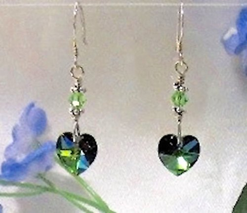 Sparkling Vitrail Austrian Crystal Heart Sterling Silver Earrings
