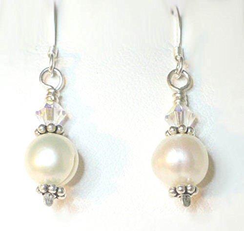 FW Pearl Drop Earrings in Sterling Silver