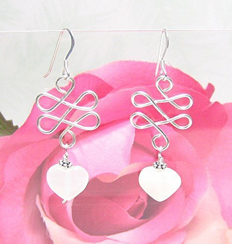 Celtic Knot Moonstone Heart Sterling Silver Earrings