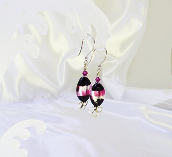 Sparkling Black Dichroic Sterling Silver Earrings