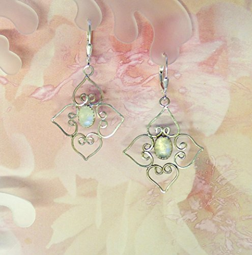 Blooming Dogwood Moonstone Sterlng Silver Earrings