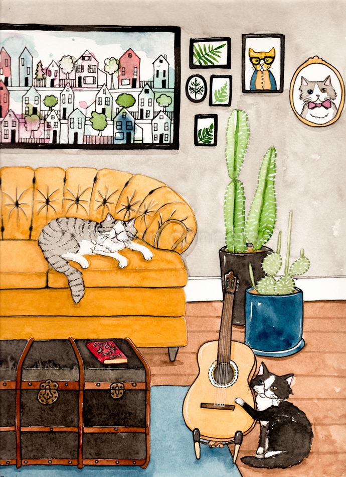 Cats In The Living Room Original Cat Folk Art Watercolor Painting
