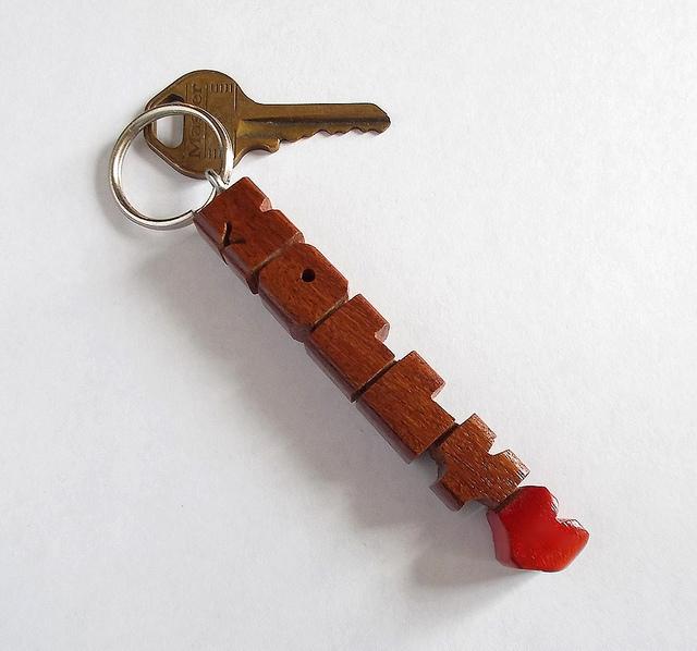 Name Keychain in Cumaru Wood, Carved to Order