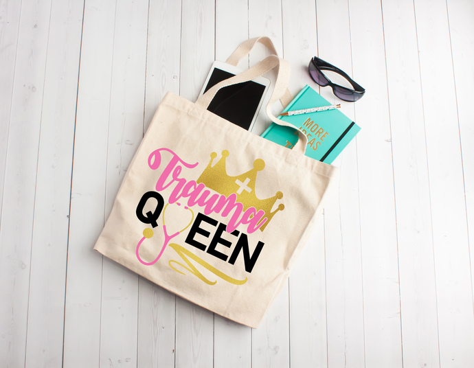 Trauma Queen, Nurse tote bag, Cotton Tote Bag, nurse party, gifts for nurses,