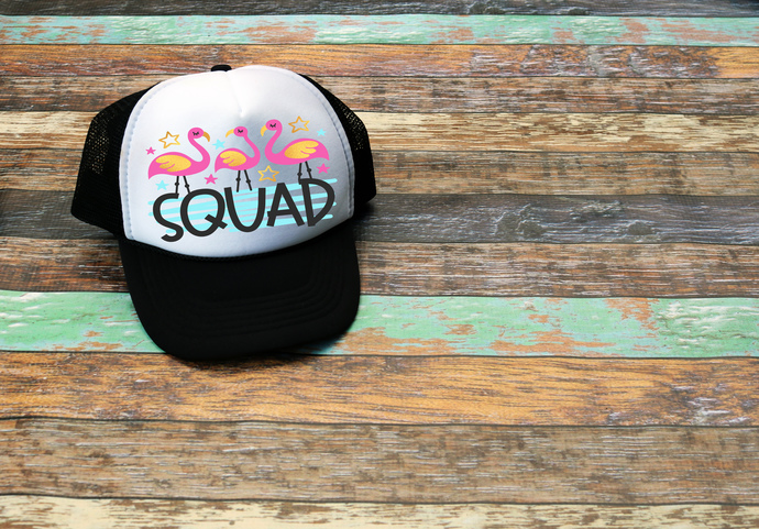 Flamingo Squad, custom trucker hats, bridesmaids hats, Personalized trucker Hat,