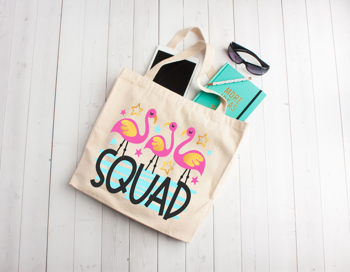 Flamingo squad, flamingo bags, beach totes, personalized totes bags, totes with