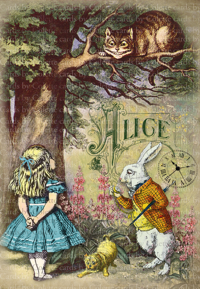Alice Digital Collage Greeting Card1109