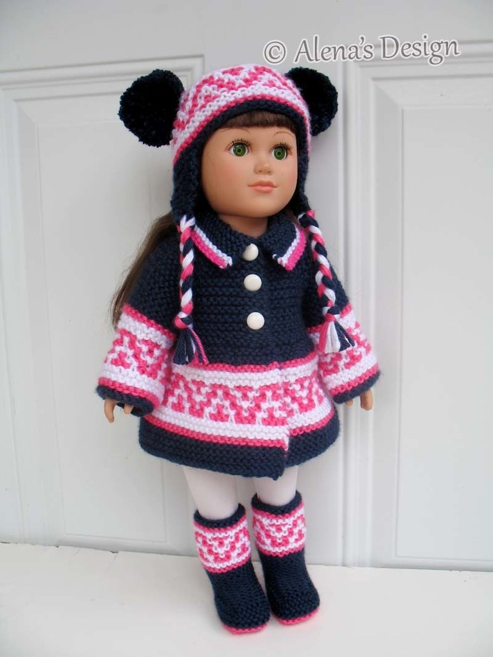 18 inch Doll Boots Coat Ear Flap Hat 3 PC Set Knitting Patterns American Doll
