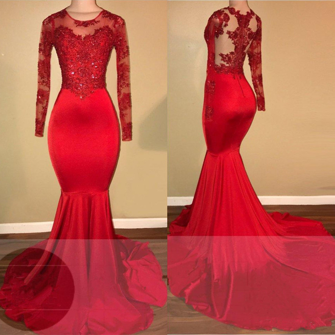 Red lace mermaid prom dress, long sleeve evening by dresses on Zibbet
