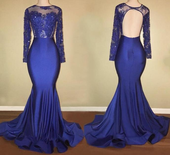 f3ec4894036 Prom Dresses 2018 Gorgeous Sheer Scalloped Long Sleeve Top Lace Backless  African