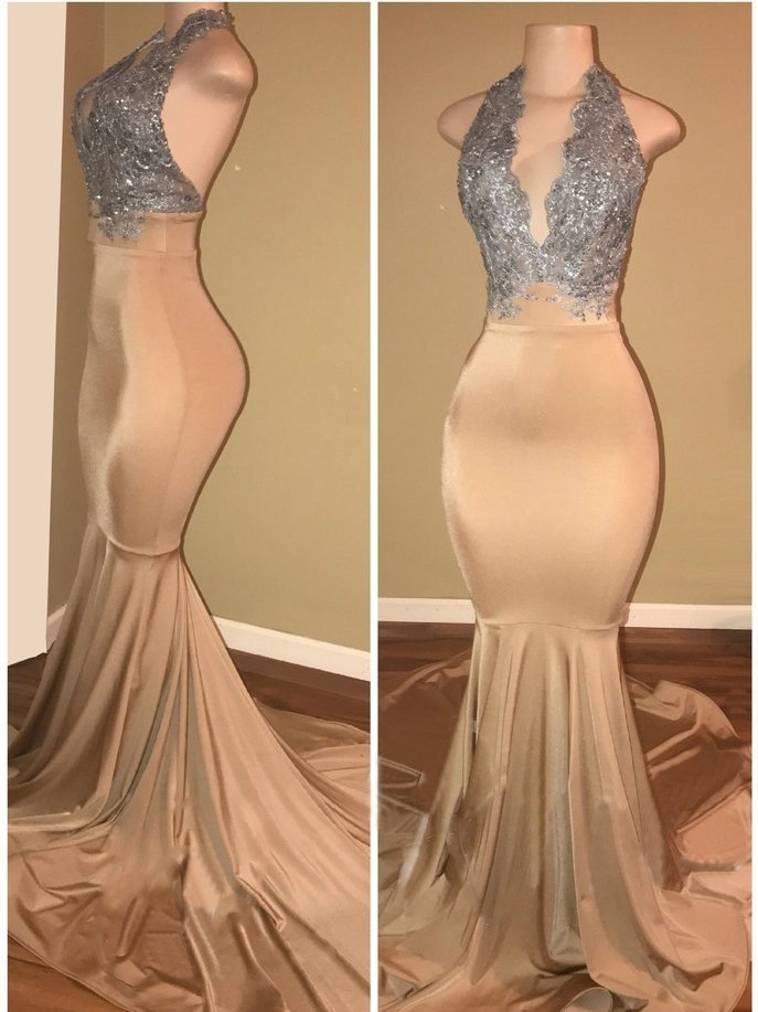 Elegant V-Neck Sleeveless Prom Dress Long Mermaid With Sequins