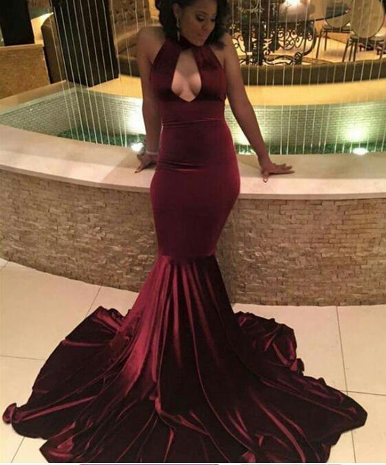 Sexy Sweep-Train Halter Velvet Mermaid Burgundy Prom Dress