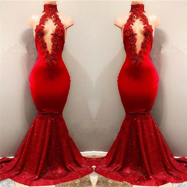 4481b068 Sexy Red Appliques Mermaid Prom Dress | Sequins Deep V-neck 2018 Cheap  Evening