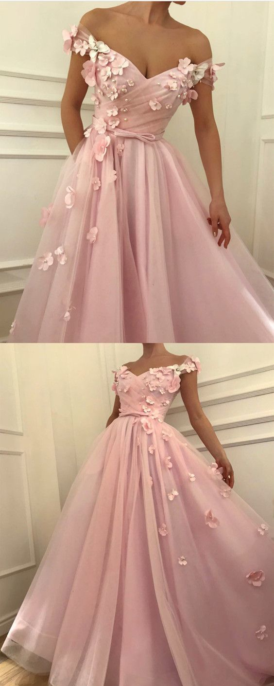 Pretty pink tulle long prom dresses v-neck off the shoulder evening gowns with