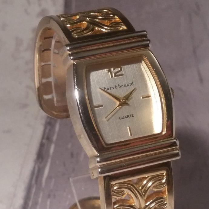Women's Bracelet Watch, Gold Vintage Watch, Gold Wrap Watch, Gold Leaf Watch.