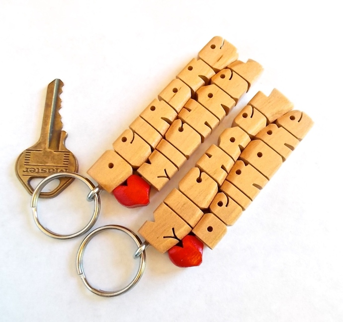 Wave Keychain in Maple Wood - Carved to Order