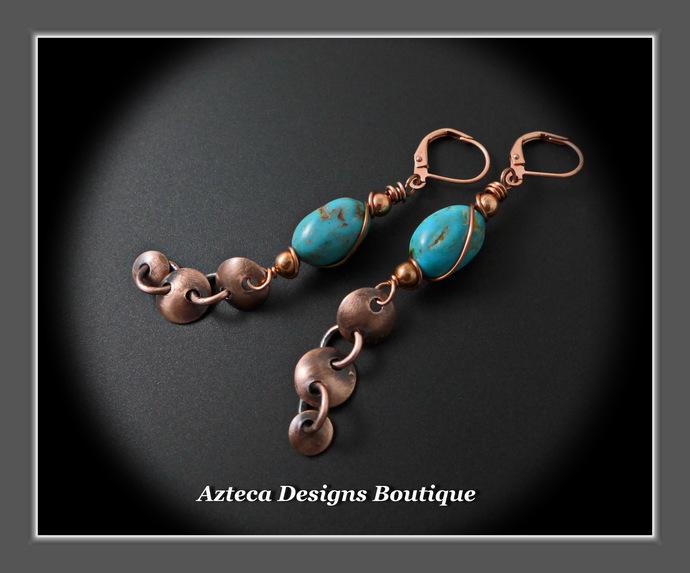 Linx~ Hubei Turquoise Copper Sexy Long Artisan Earrings