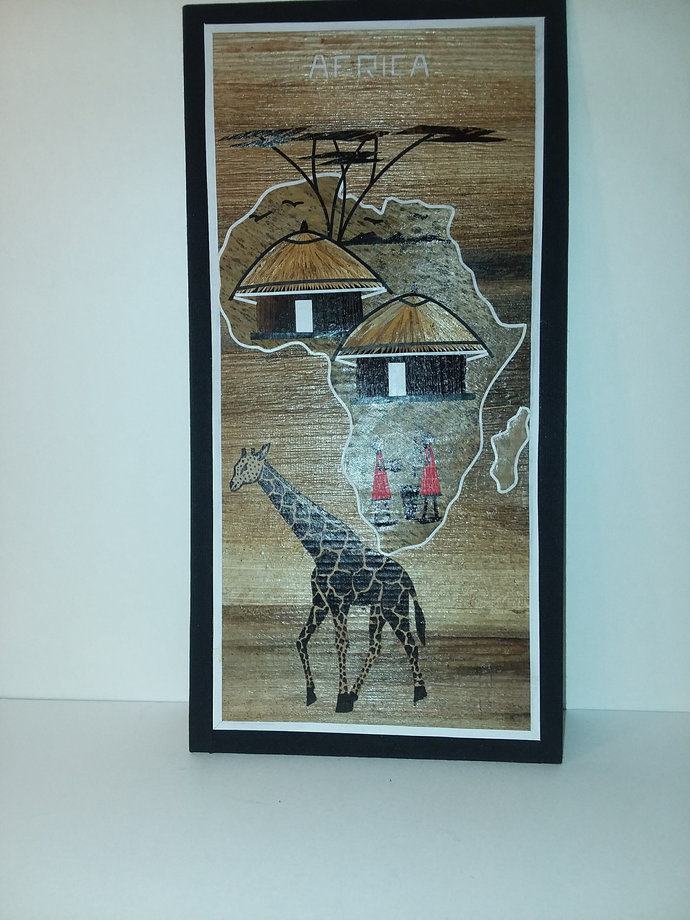 3 hand painted African art piece