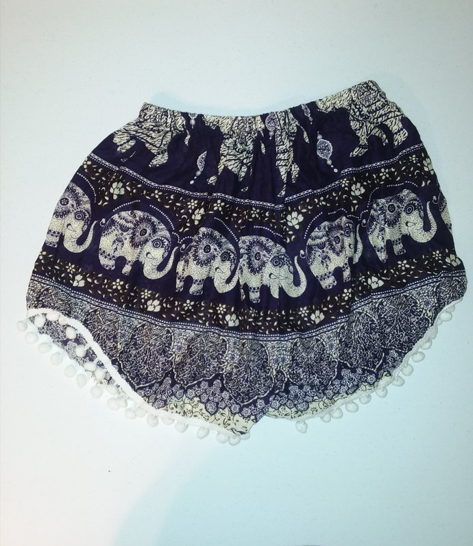 Handmade African elephant printed shorts