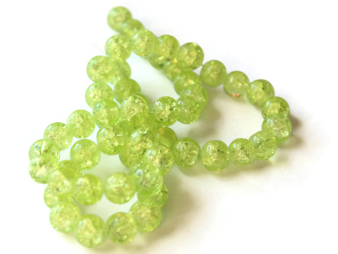 Yellow Green Crackle Glass Beads 8mm Round Beads Jewelry Making Beading Supplies