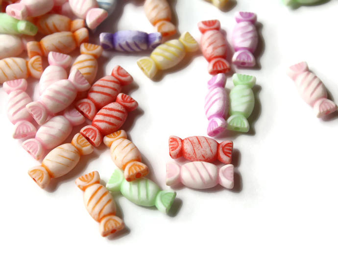 Wrapped Candy Beads Mixed Color Beads Multi-color Plastic Beads Acrylic Beads