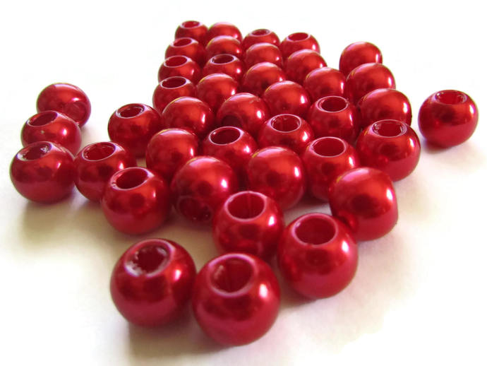 40 12mm Large Hole Pearls Red Pearl Beads European Beads Plastic Pearl Beads