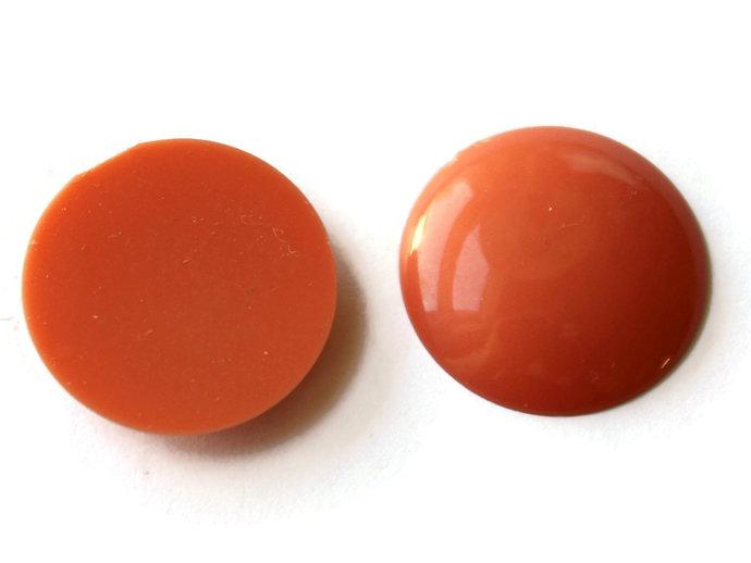 12 21mm Orange Round Cabochons Vintage Lucite Cabochons Vintage Plastic Cabs