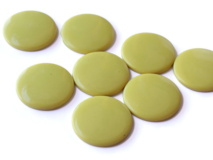 8 34mm Cabochons Bright And Sunny Round Yellow Cabs Vintage Lucite Cabs Japanese