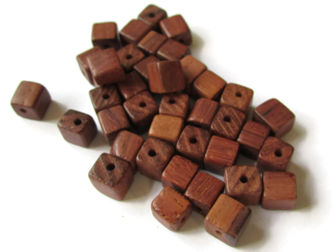 100 6mm Brown Wood Cube Beads Vintage New Old Stock 1960s Spacer Beads Wooden