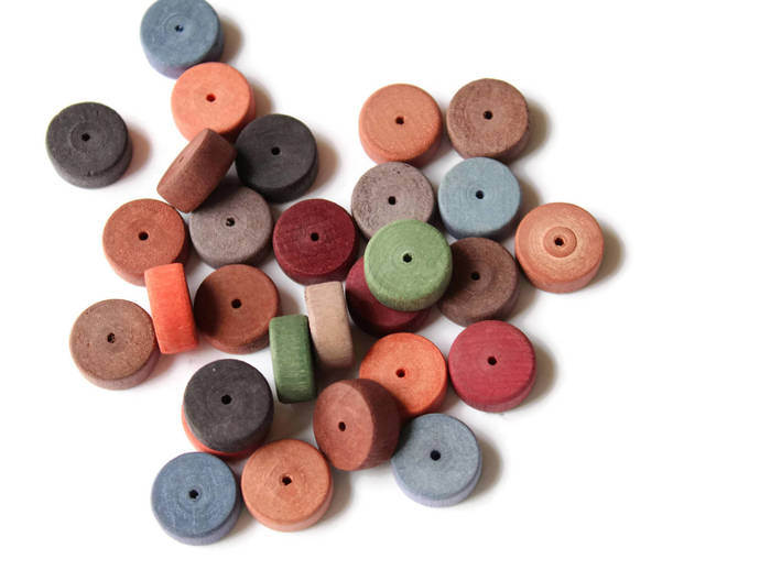 30 14mm Multi-color Wood Coin Beads Wooden Disc Beads Jewel Tone Beads Vintage