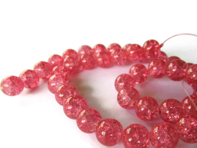 10mm Bubblegum Pink Crackle Glass Round Beads Ball Beads Sphere Beads Jewelry