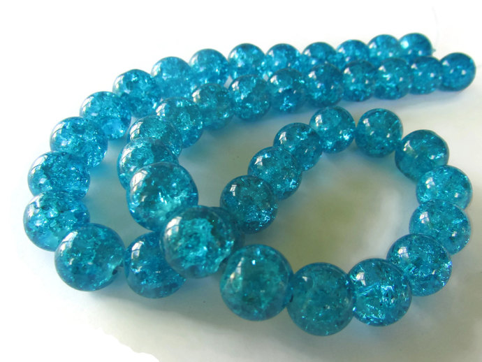 Bright Sky Blue Bead Crackle Glass Beads 10mm Round Beads Full Strand Cracked