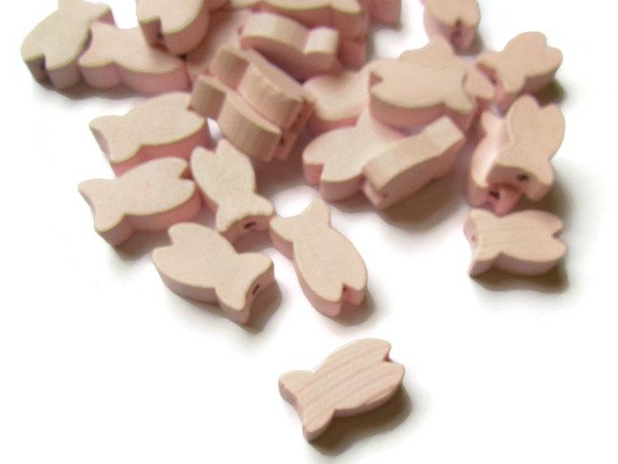 30 19mm Light Pink Wooden Fish Beads Wood Animal Beads Large Lightweight Sealife