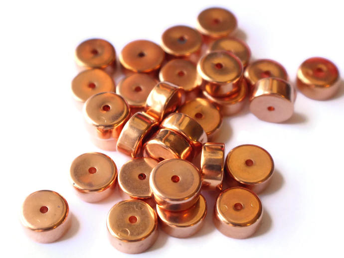 30 10mm Copper Plated Rondelle Beads Vintage Red Copper Beads Plastic Disc Beads