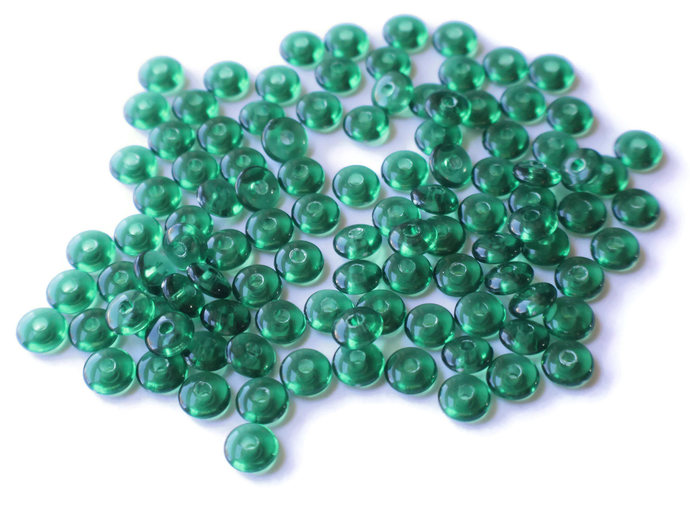 100 8mm Green Saucer Beads Acrylic Rondelle Beads Jewelry Making Beading